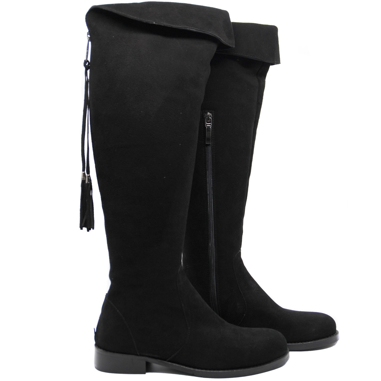 LucyToni Womens Suede Knee High Stylish Burghley Boots for All Seasons - Black