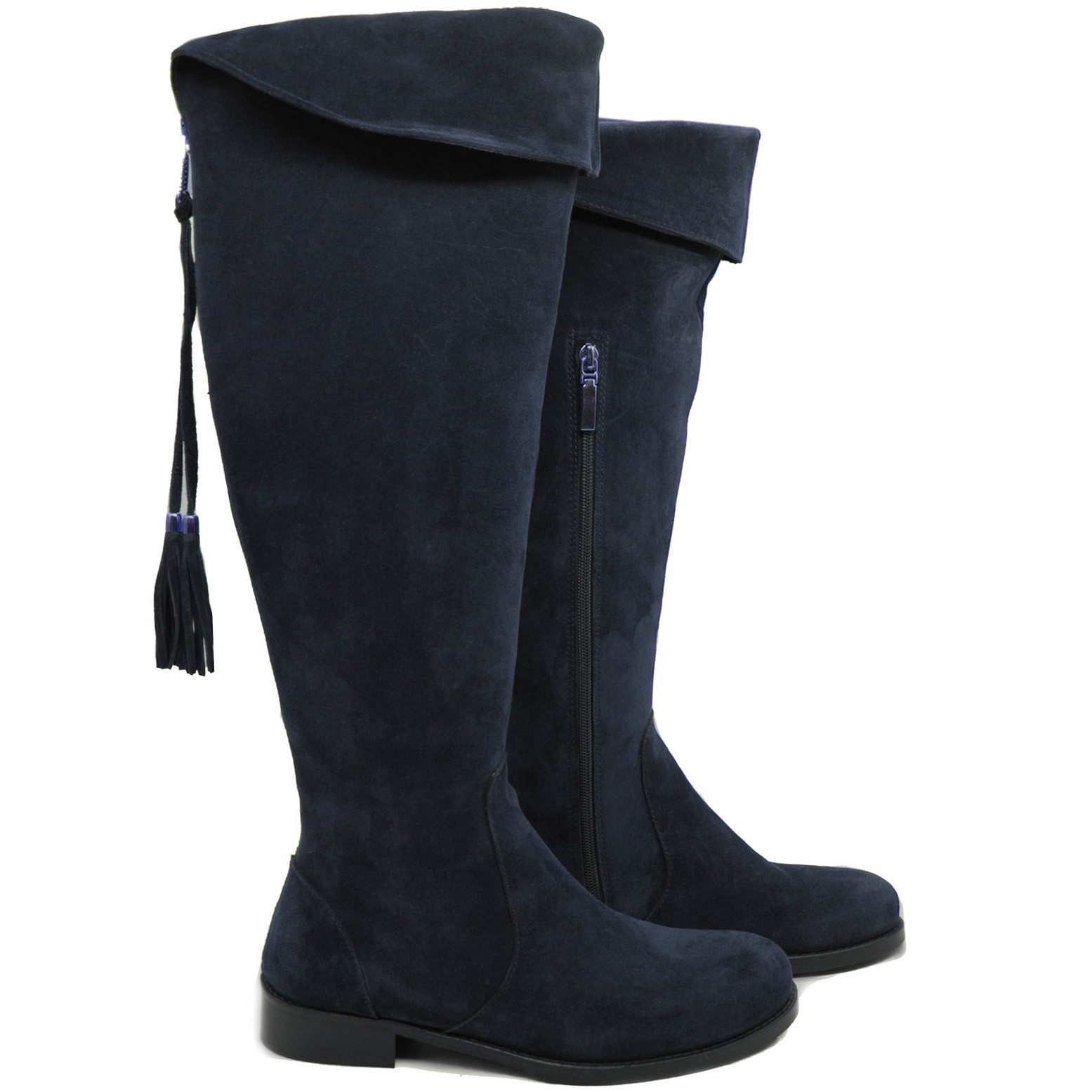 LucyToni Womens Suede Knee High Stylish Burghley Boots for All Seasons - Blue