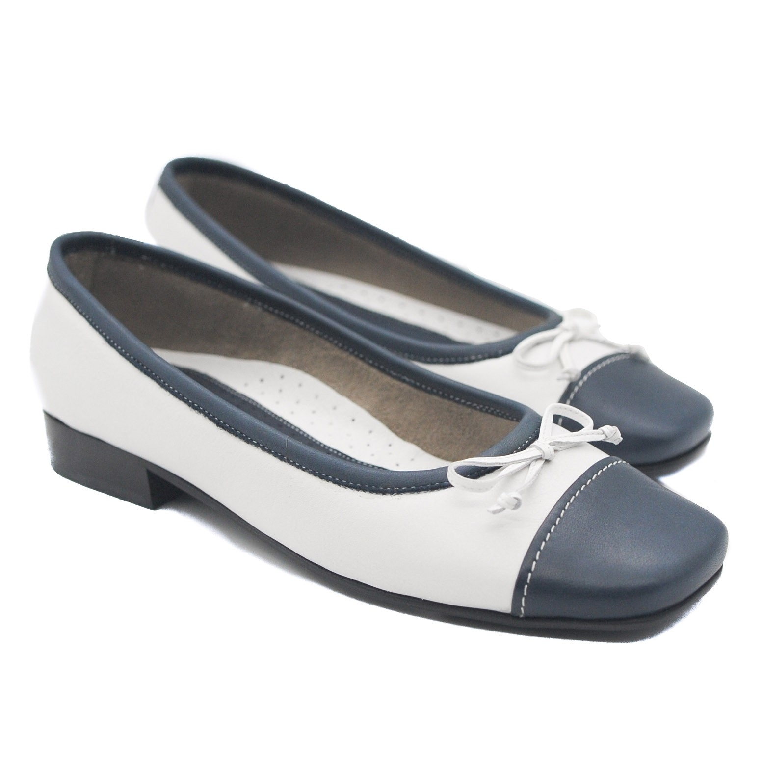 Navy and White Ballerina Slip-On Orthopedic Pumps for Ladies with Low Heel & Square Toe