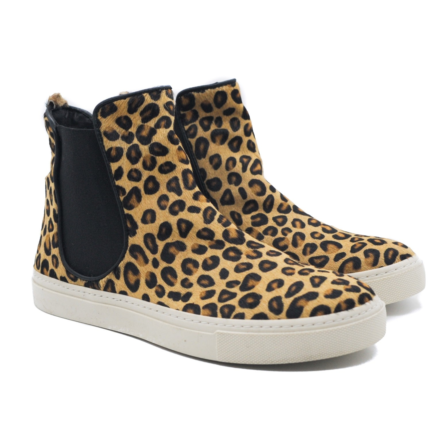 Pegia Animal Leopard Print High Trainer Ladies Shoes in Black and Tan