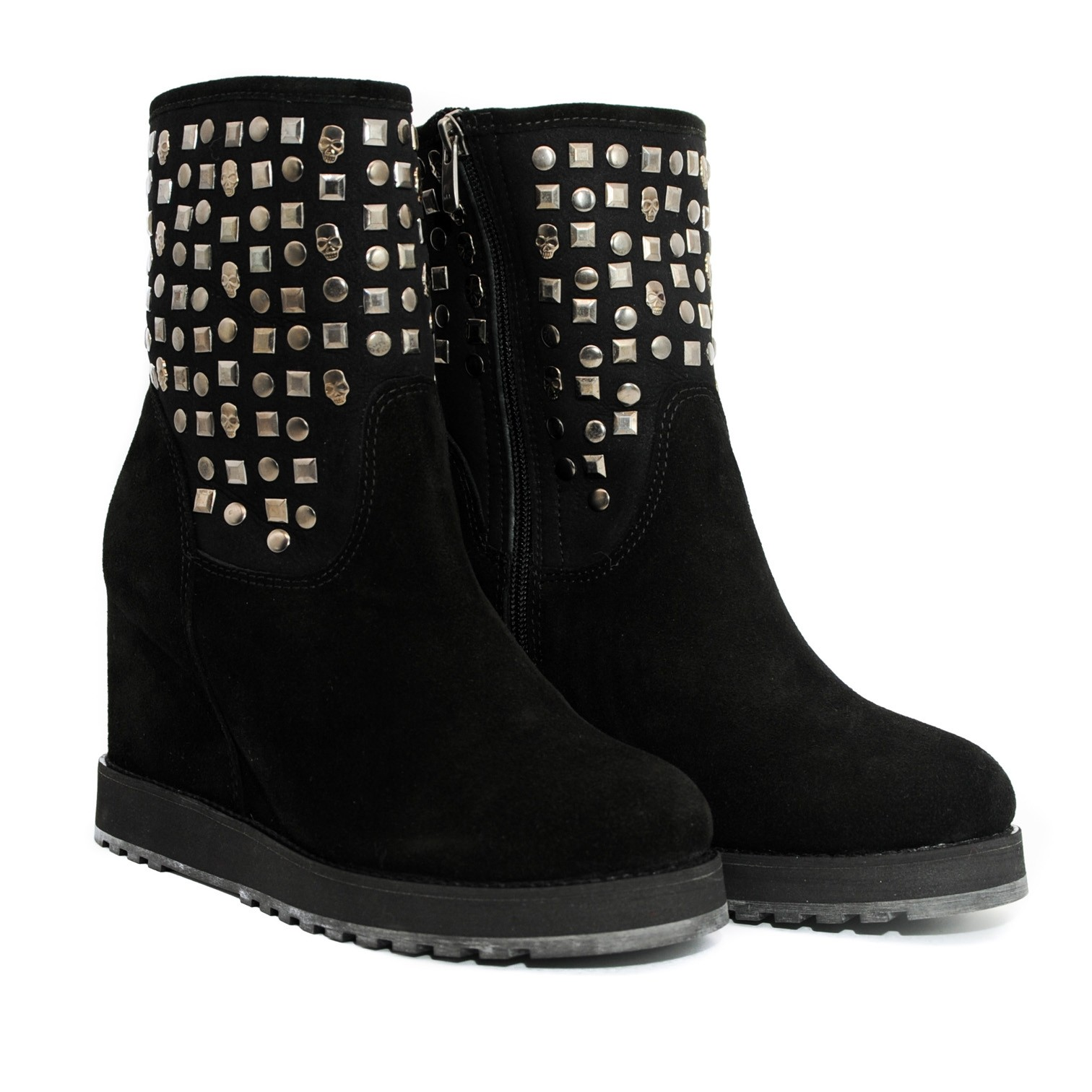 Pegia Ankle Boots Soft Suede with Raised Inner Heel and Decorative Studs - Black