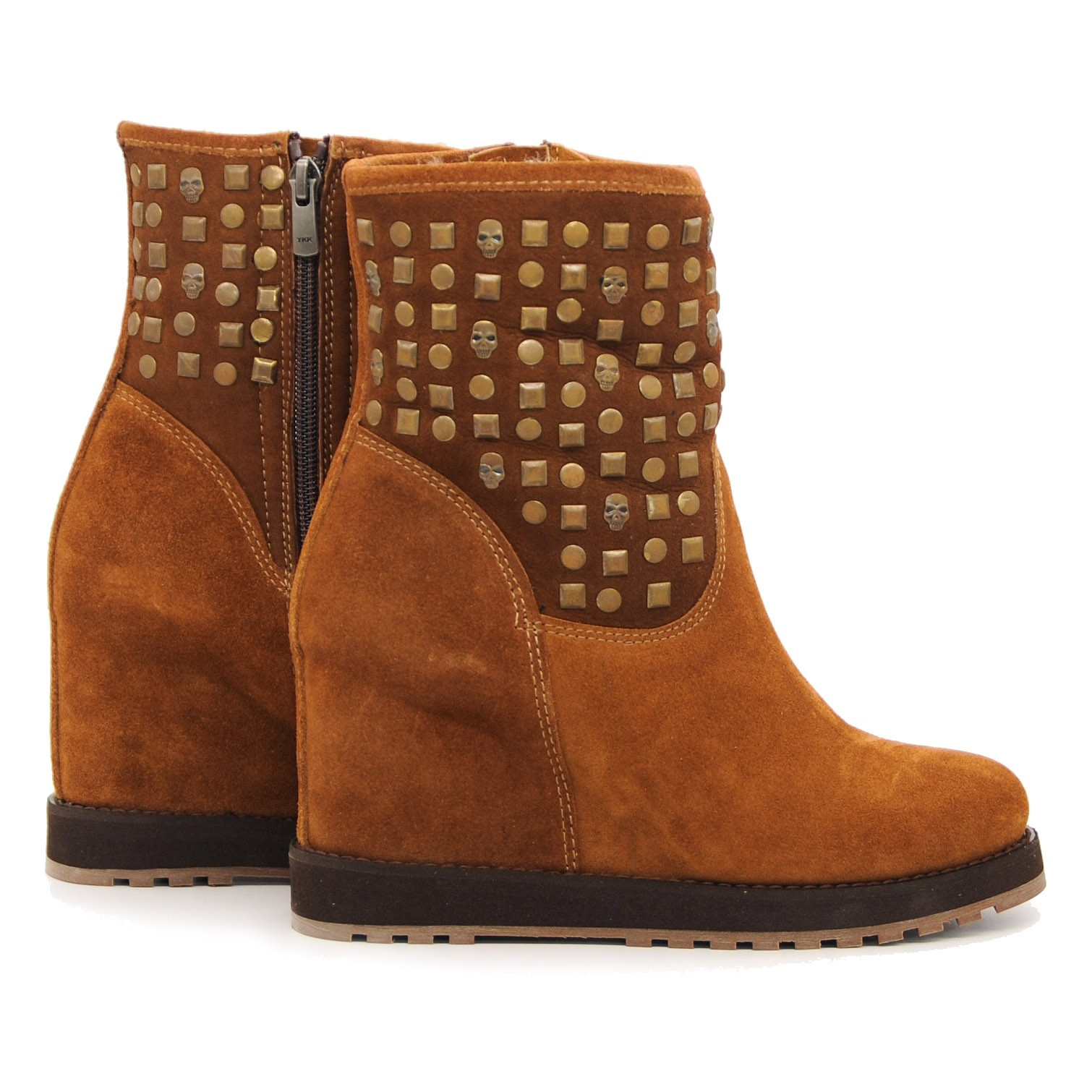 Pegia Ankle Boots Soft Suede with Raised Inner Heel and Decorative Studs - Tan