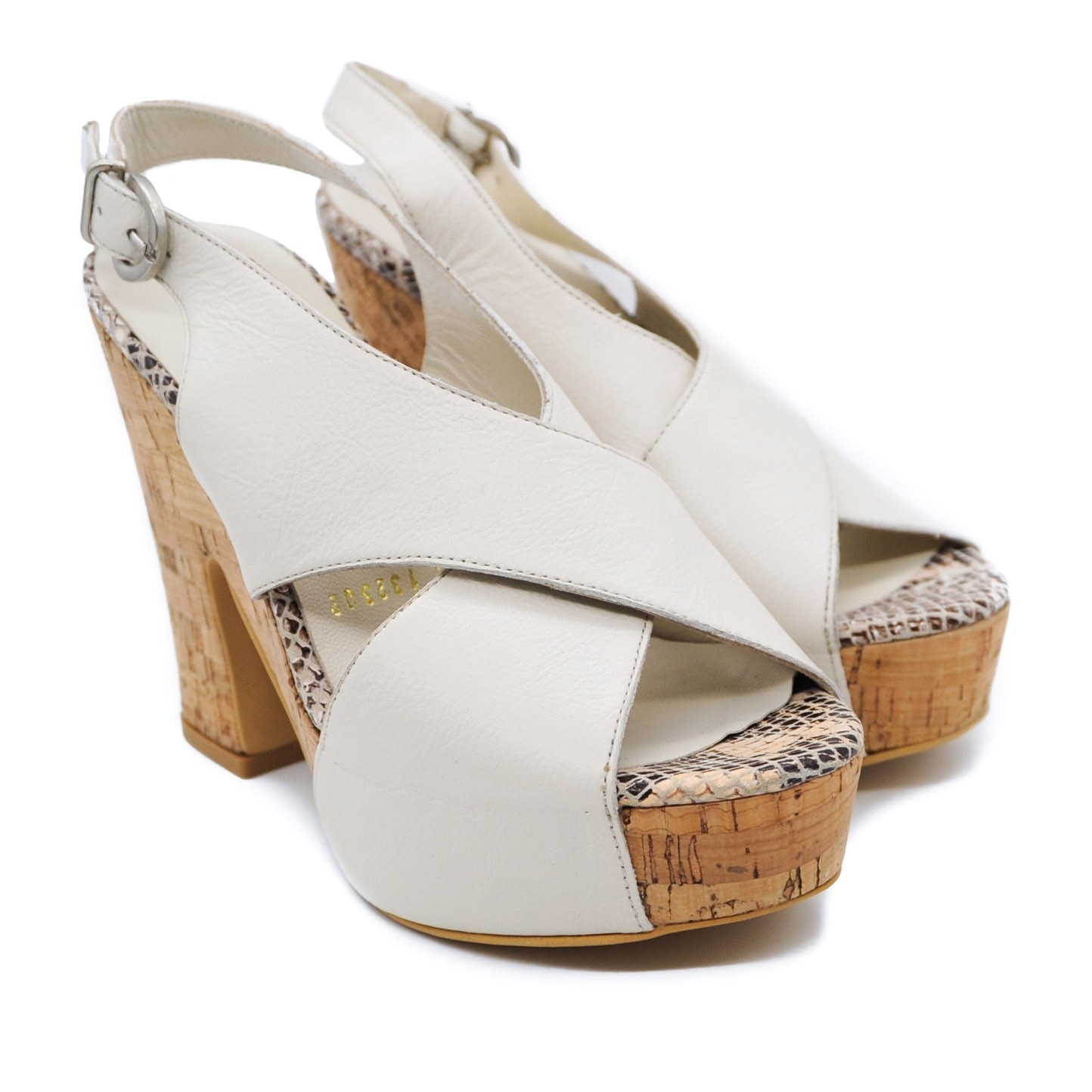 Pegia Beige Platform Leather Strapped Shoes with Cork High Heels and Wedge