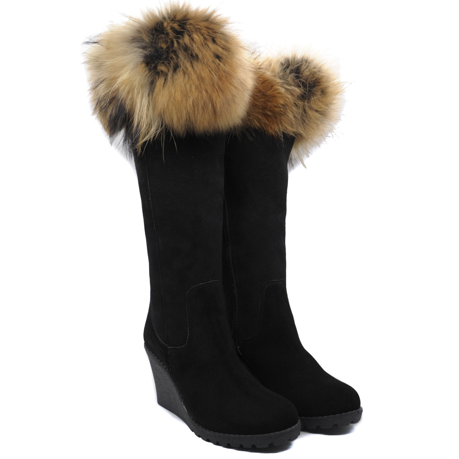 Pegia Black Suede Boots with Inner Wedge and Woolmark Certified Wool Lining with Fur Top and Side Zip