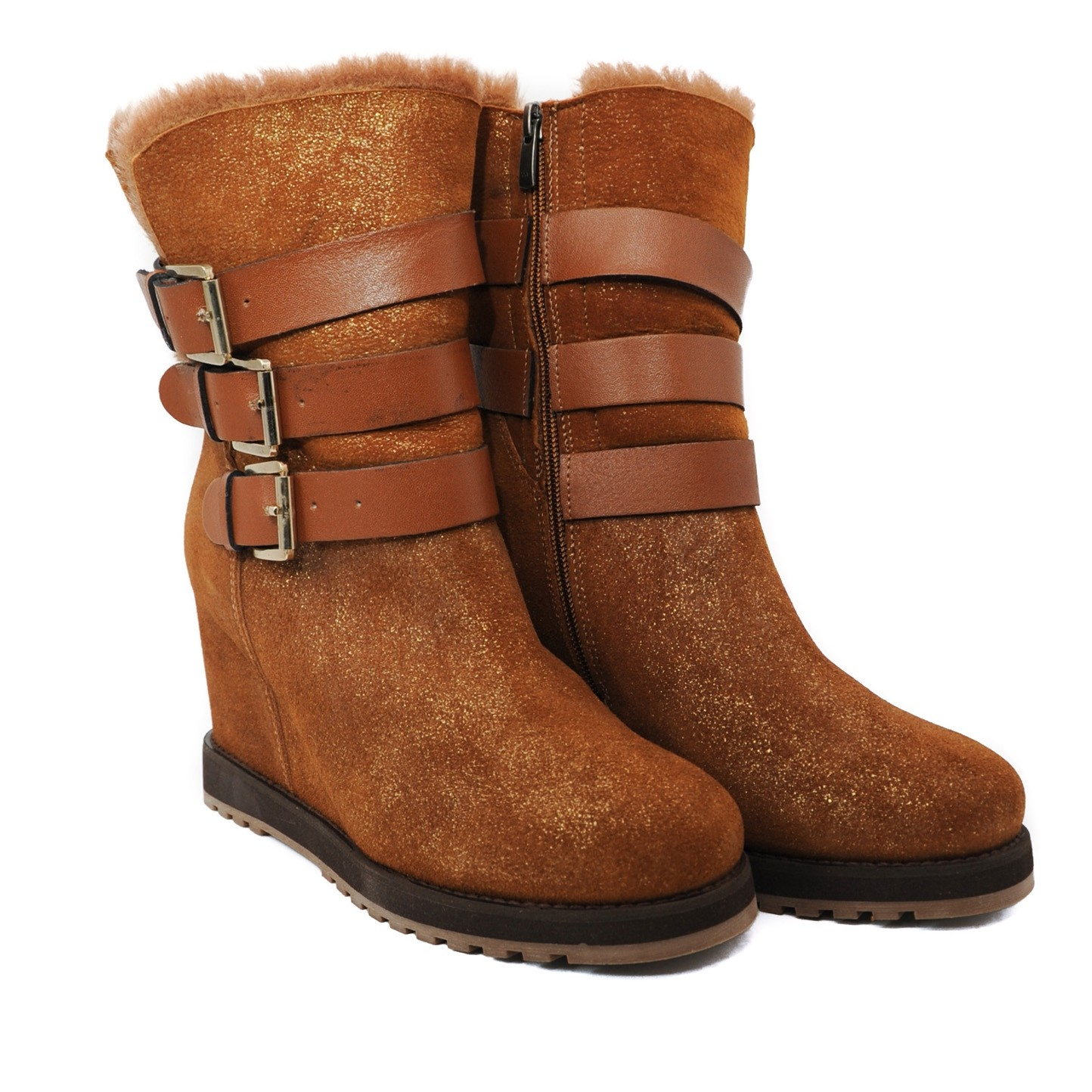Pegia Buckled Leather Boots with Genuine Woolmarked Sheepskin Lining for Style and Comfort - Tan