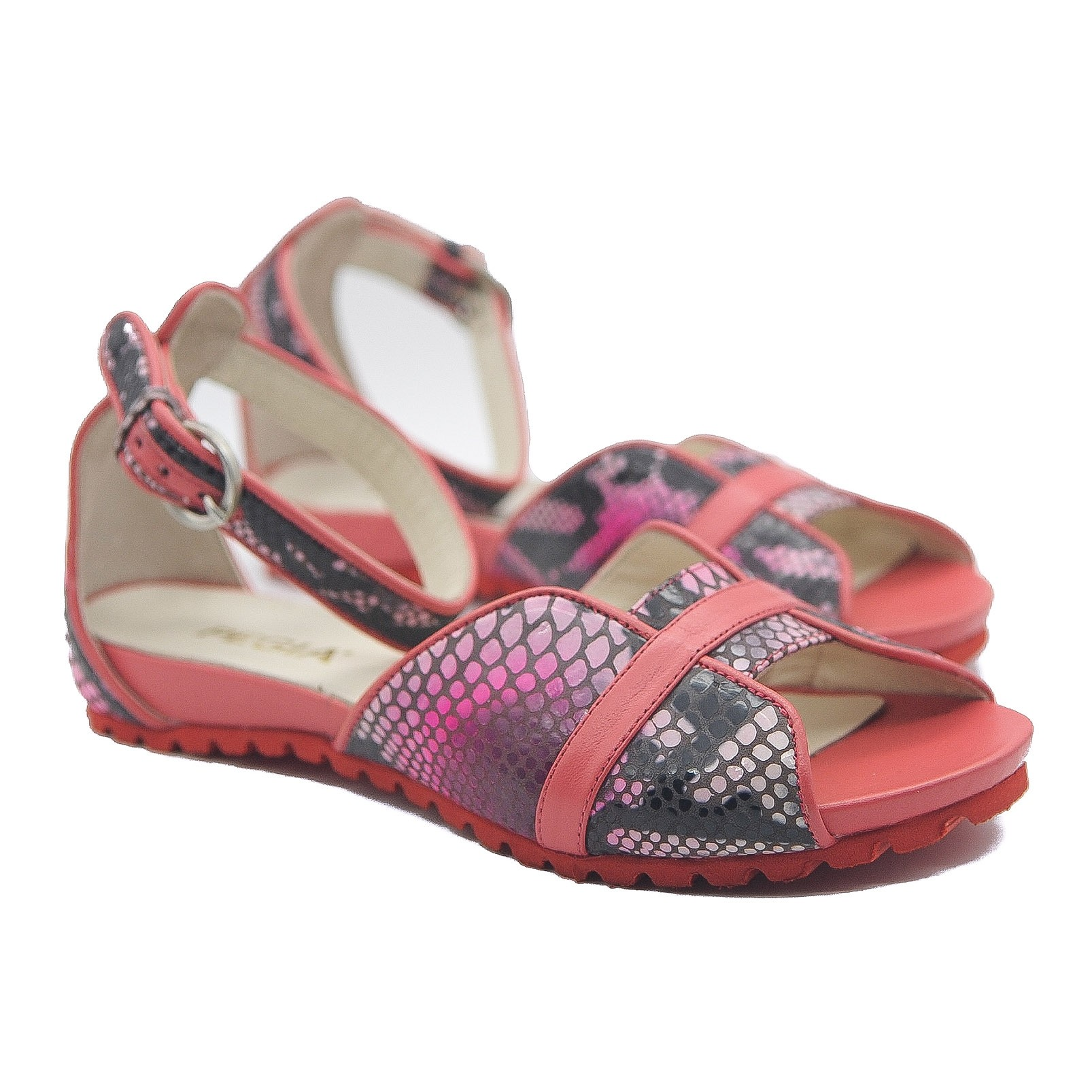 Pegia Gladiator Sandals Black and Pink Flat Open Toe Snake Effect