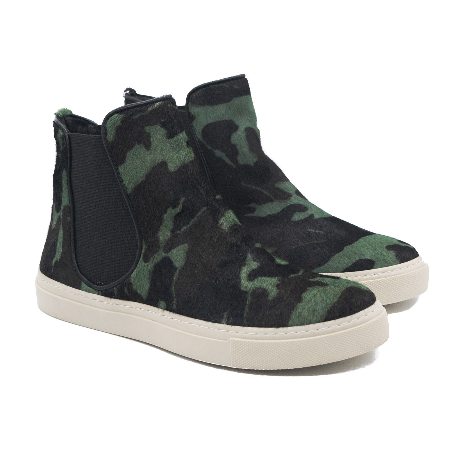 Pegia High Skater Style Boot Pumps in Green and Black for Ladies