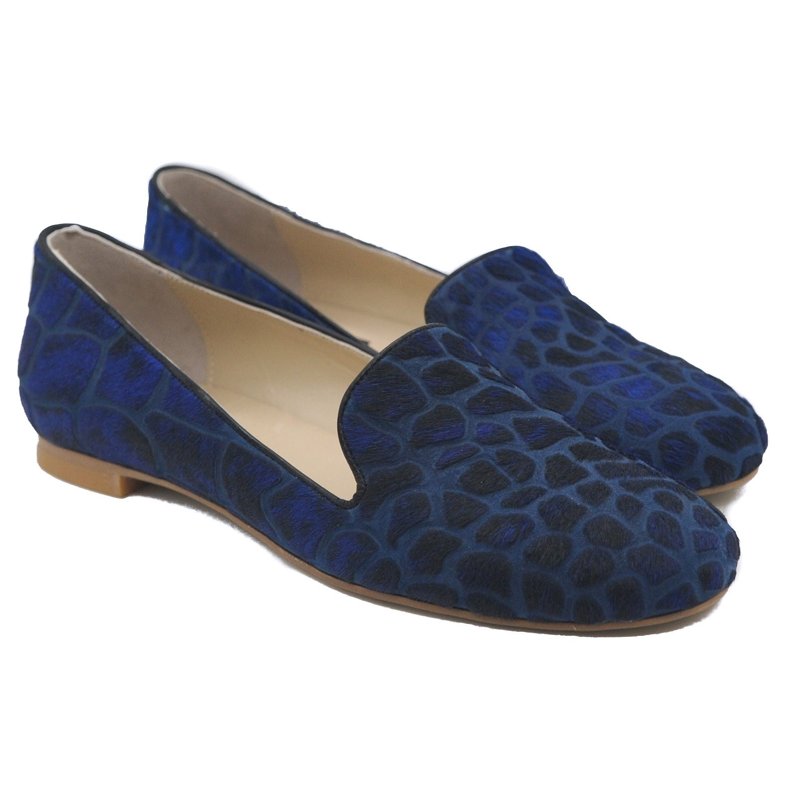 Pegia Ladies' Blue Mottled Animal Print Pony Hair and Suede Flat Pumps