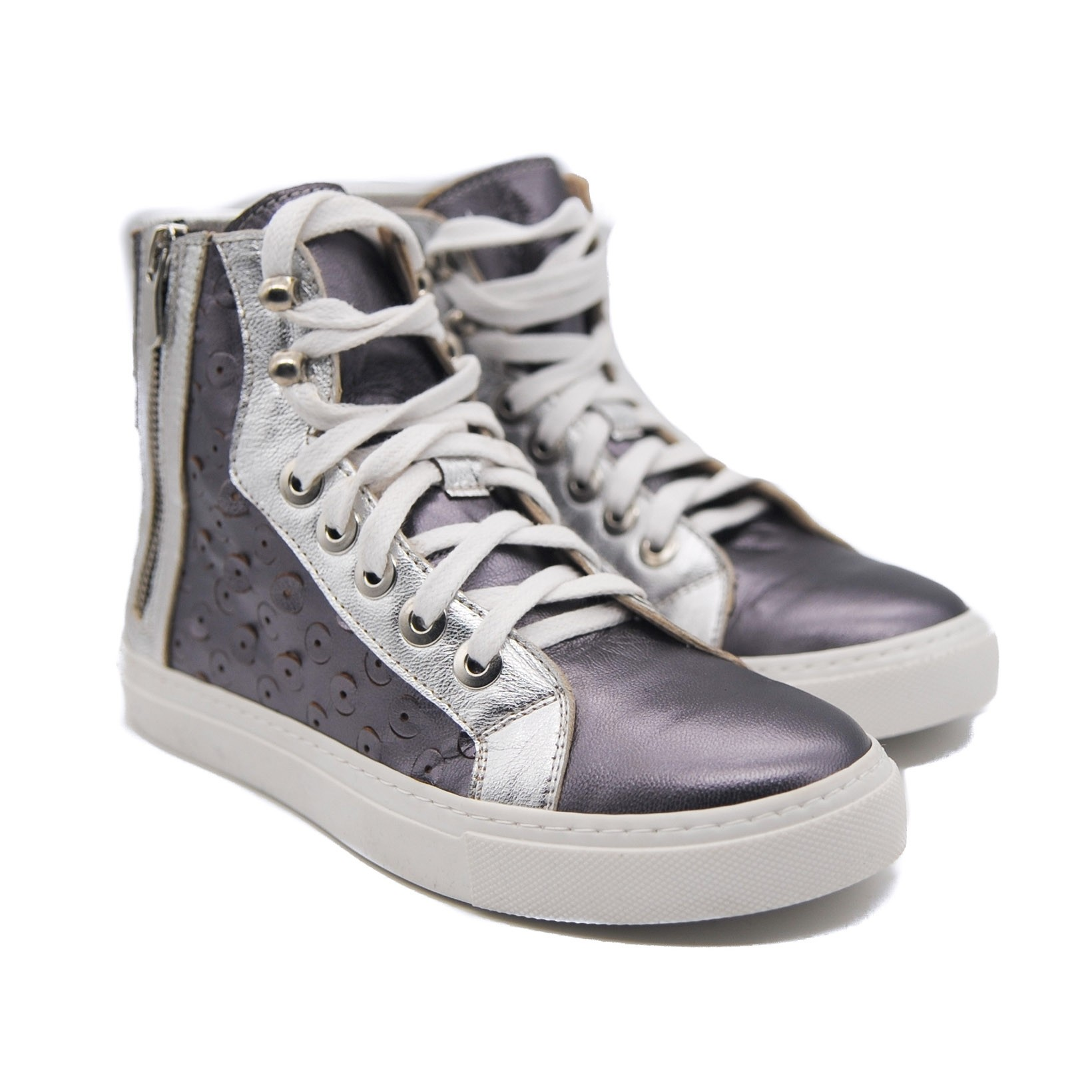 Pegia Ladies' Flat Lace Up Metallic Grey and Silver High Skater Shoes