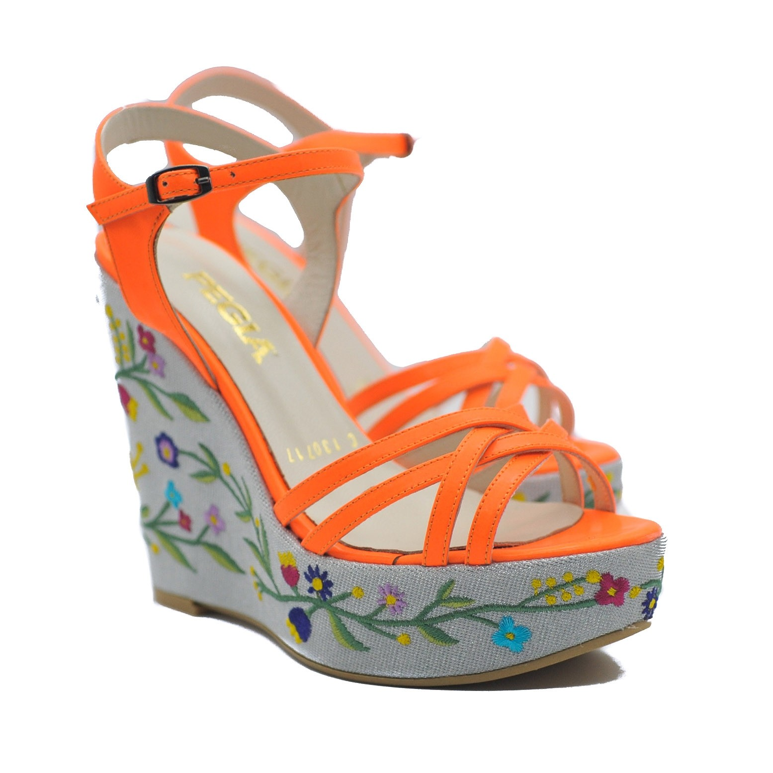 Pegia Ladies' Floral Embroidered Platform Wedge Heels with Patent Orange Straps