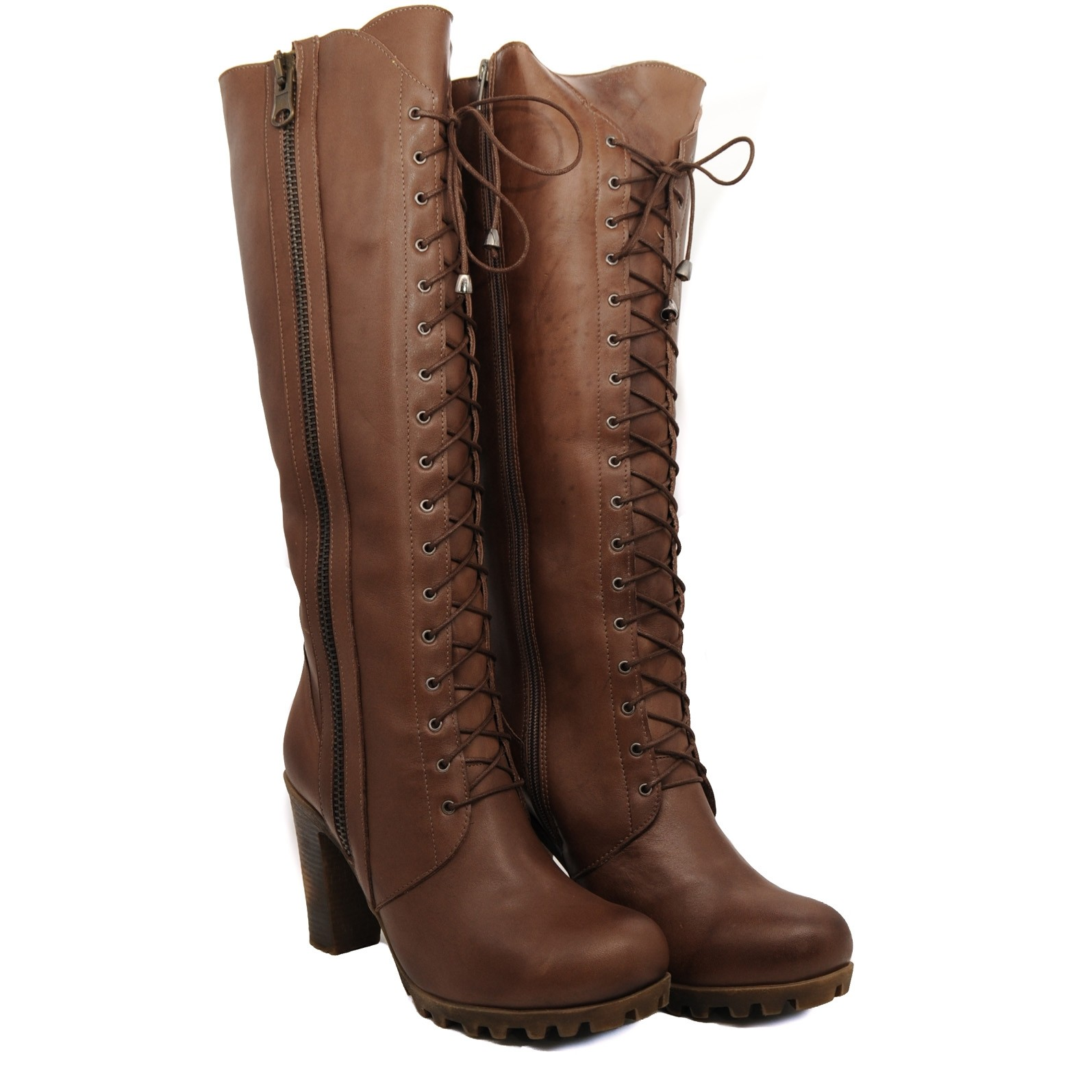 Pegia Ladies Knee High Leather Boots Brown 17 Hole Laced Up Attractive Boot with a Medium Heel and a Full Length Zip