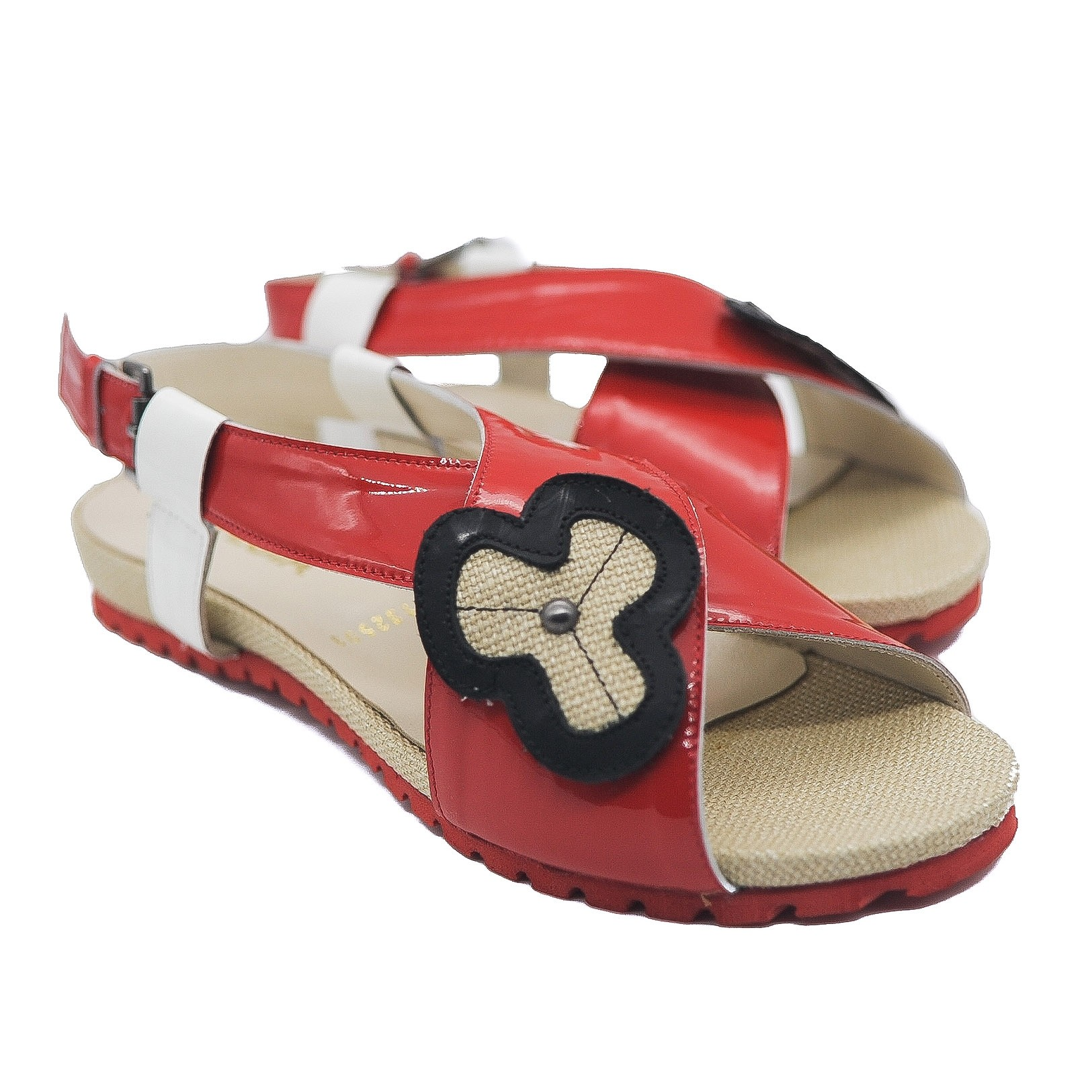 Pegia Ladies Leather Patent Red Camper Sandals with Crossover Straps and Flower