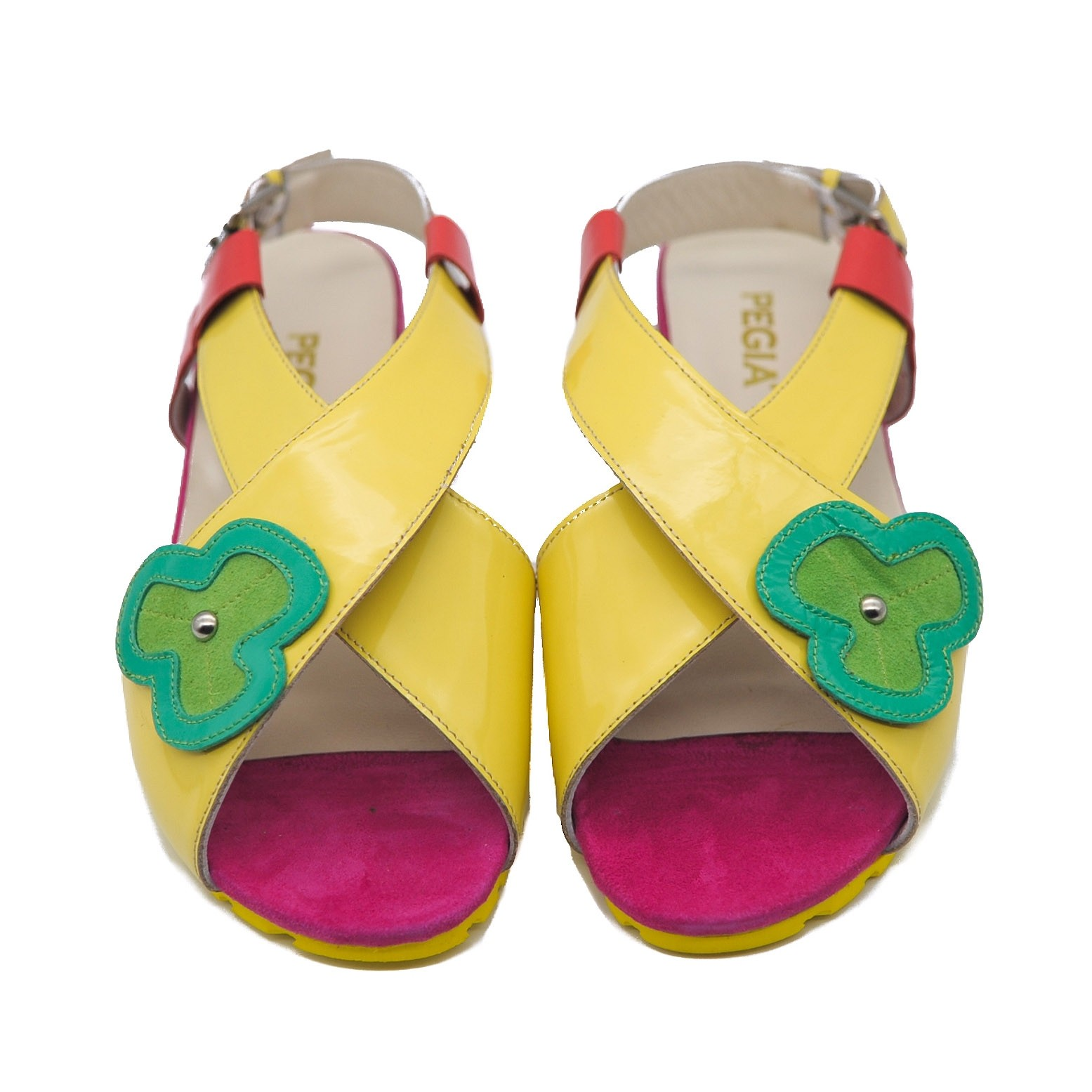 Pegia Ladies Leather Patent Yellow Camper Sandals with Green Flower
