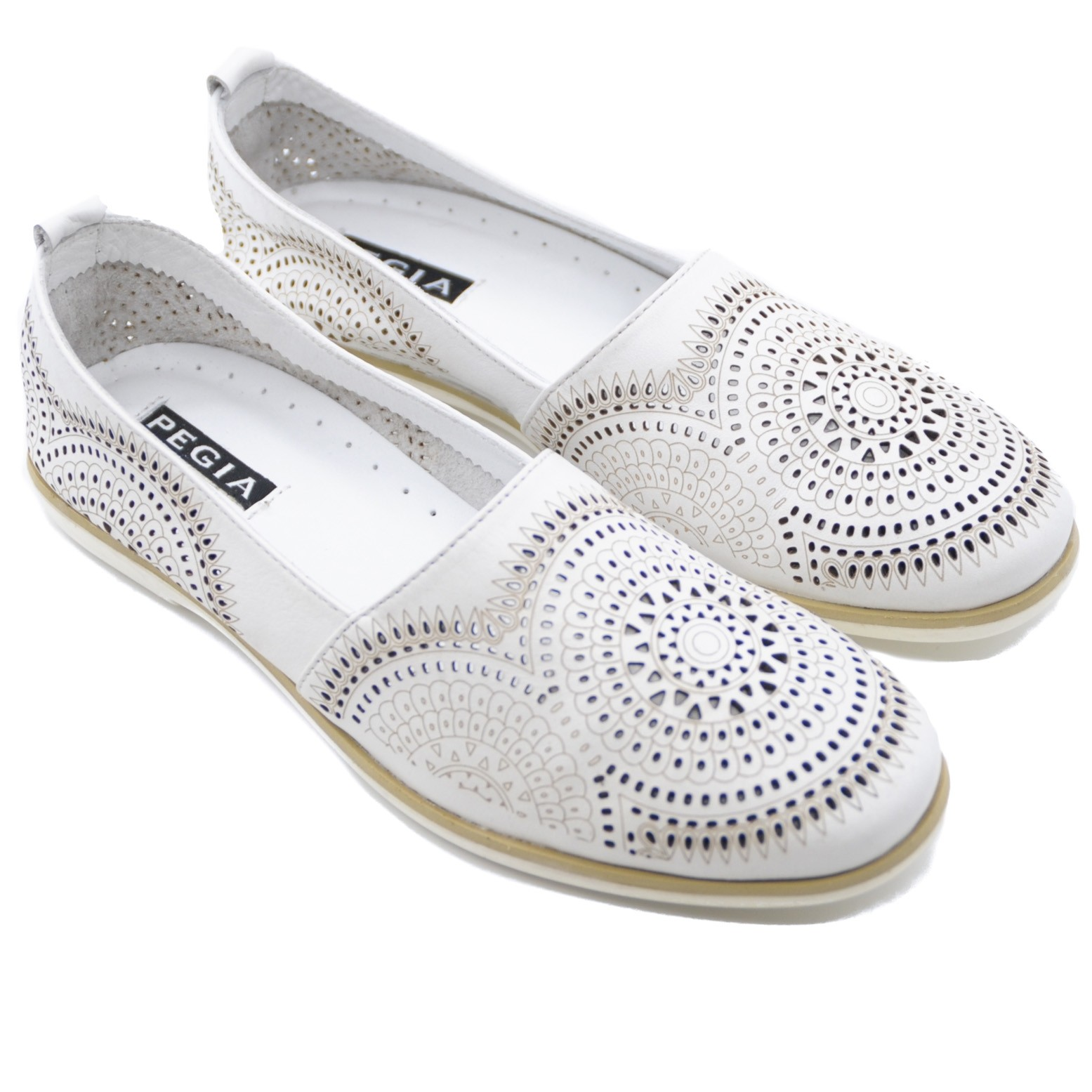 Pegia Ladies Slip On Leather Flats with Distinctive Yet Simple Mosaic Pattern