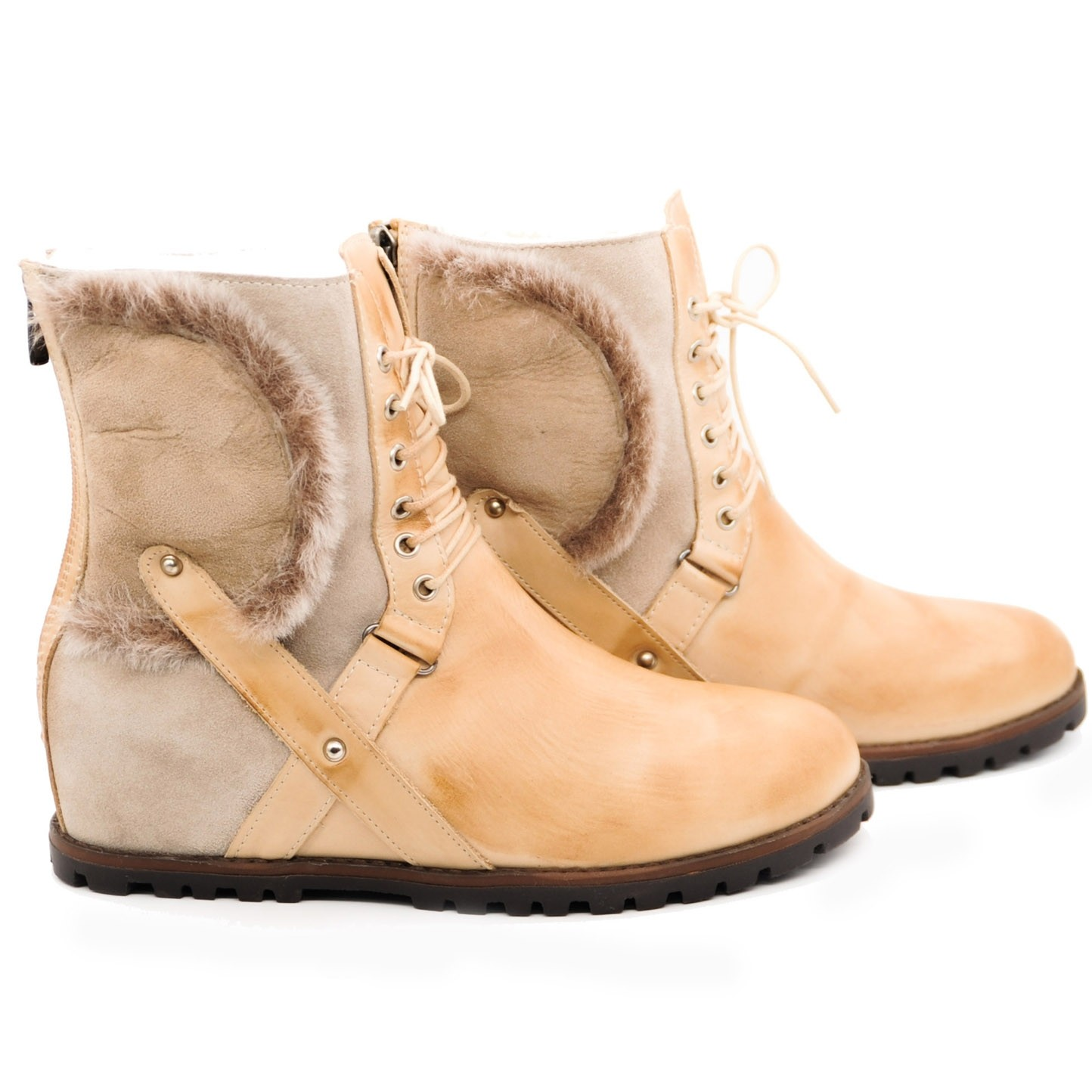 Pegia Leather Sheepskin and Fur Flat Ankle Lace Up Boots Pure Wool Lined and Back Zipped