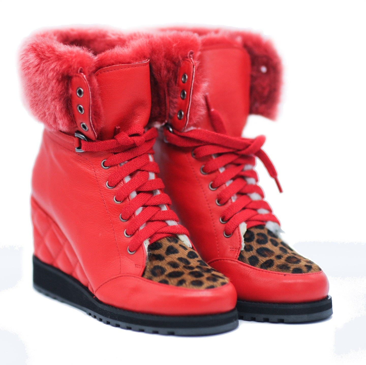Pegia Red Leather Ankle Boots with a Leopard Skin Pattern Toe Cap Fur Trimmed Inner Wedge and Woolmark Inner