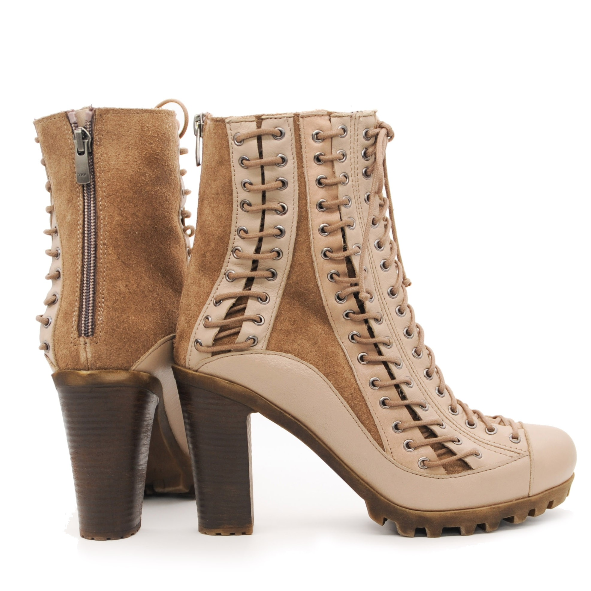 Pegia Stylish Leather and Sheepskin Lace Up Ankle Boots With Pure Wool Inner