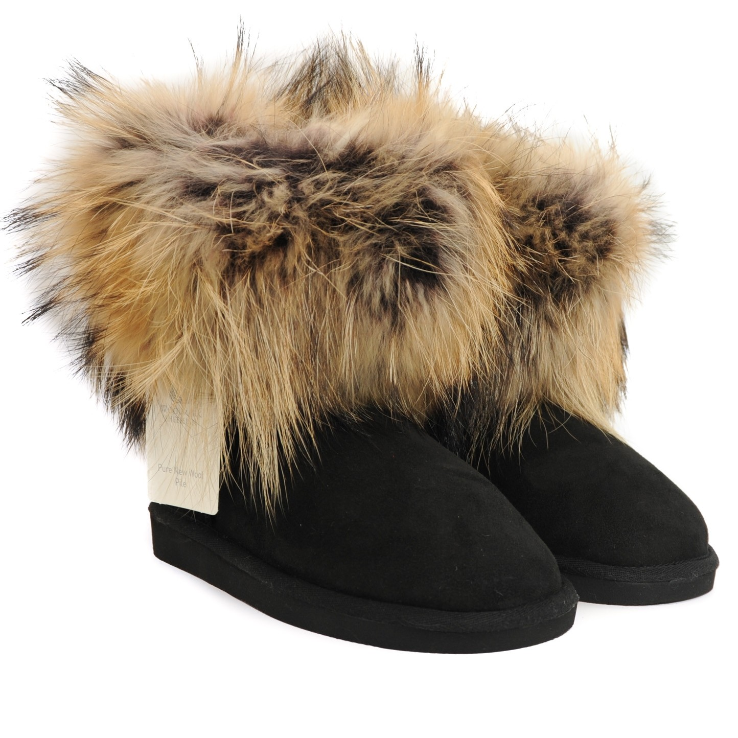Pegia Suede and Fur Topped Wool Marked Sheepskin Lined Ankle Boots - Black