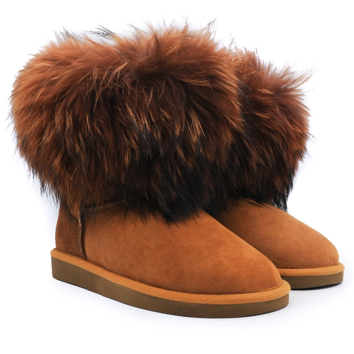 Pegia Suede and Fur Topped Wool Marked Sheepskin Lined Ankle Boots - Tan