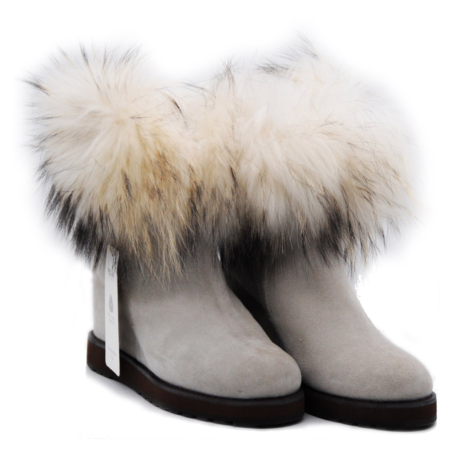 Pegia Suede Beige Ankle Boots with Inner Raised Heel and Fur Trim