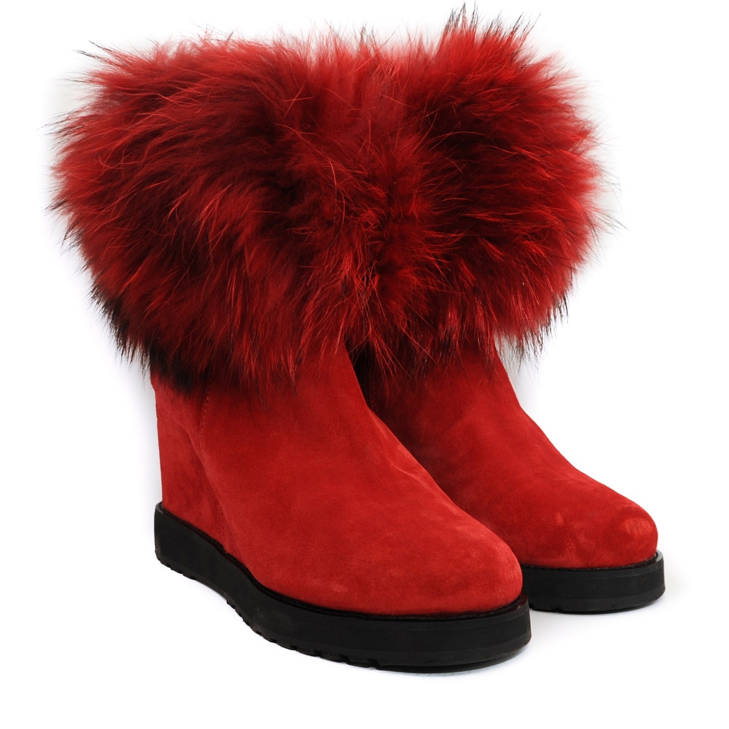 Pegia Suede Red Winter Ankle Boots with Inner Raised Heel Wool Lined and Fur Trimmed