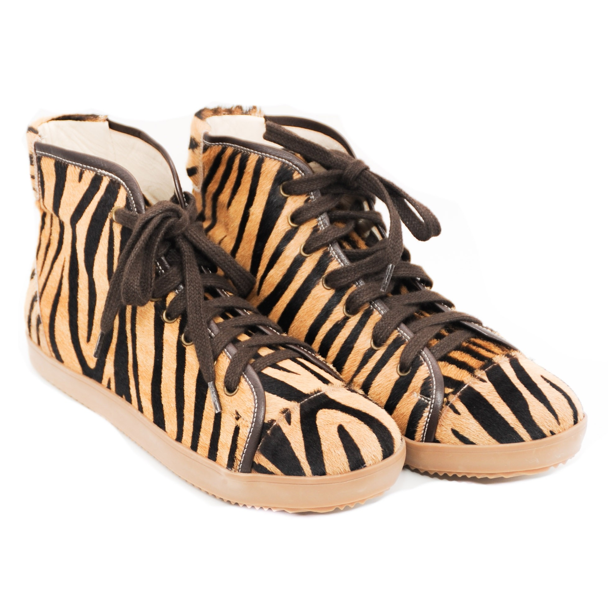 Pegia Trainer Pumps in Tiger Zebra Stripe Black and Tan Print for Ladies