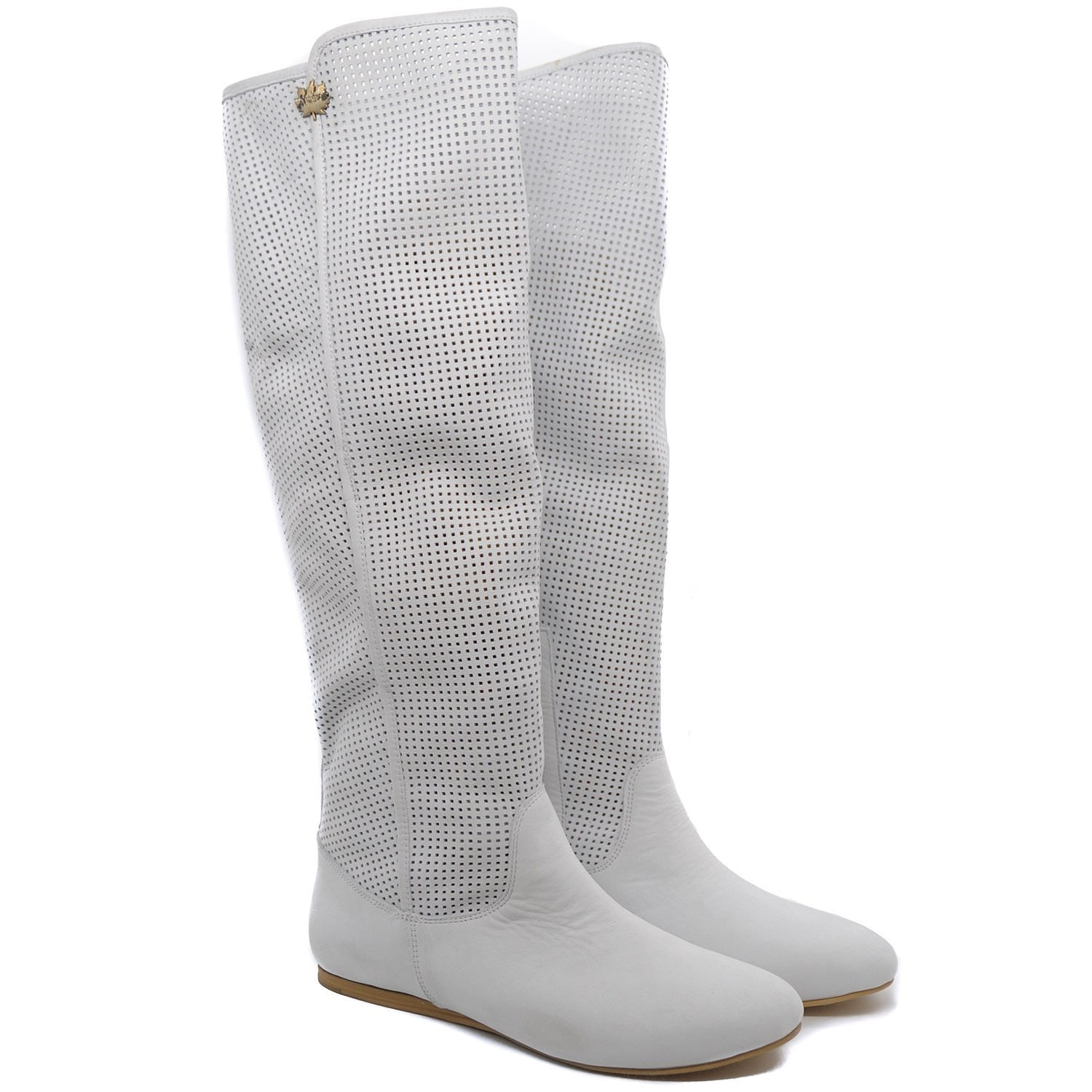 Pegia White Knee High Leather Boots with a Patterned Cut Out Design and Small Side Zip