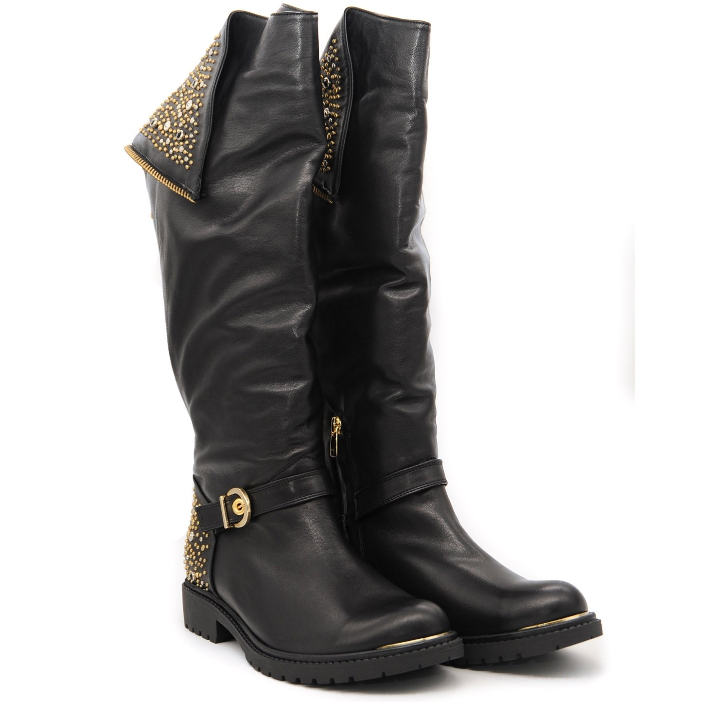 Smooth Leather Knee High Biker Boots with Stud Detailing Back Zip Fastening and Buckle