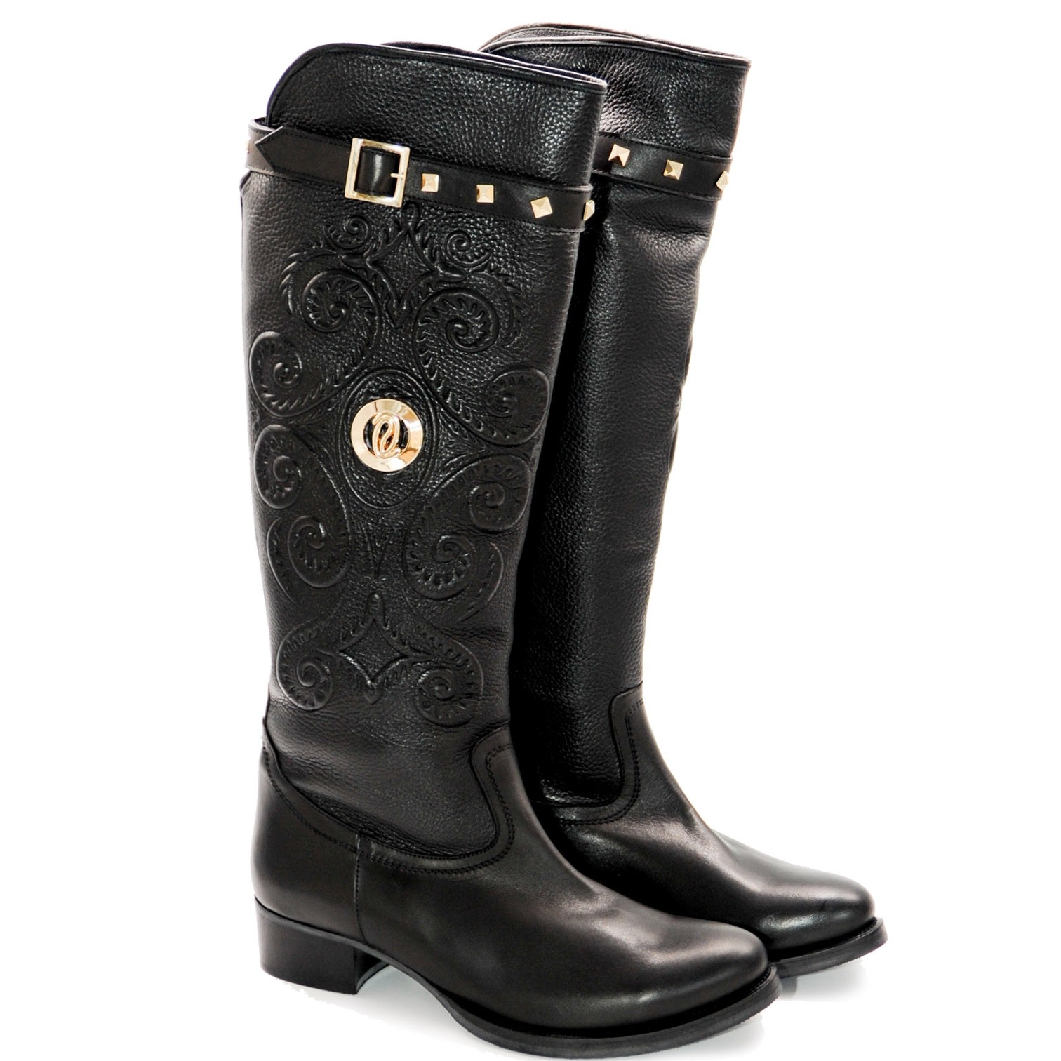 Sturdy Cowboy Style Leather Full Boot with Outer Paisley Pattern
