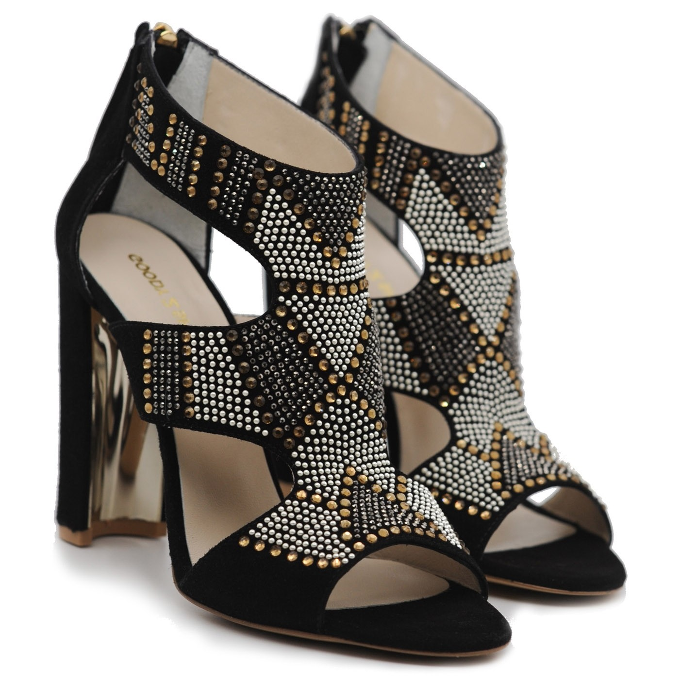 Stylish High Heels Jewelled Sandals with Ankle and Foot Support and Rear Zip