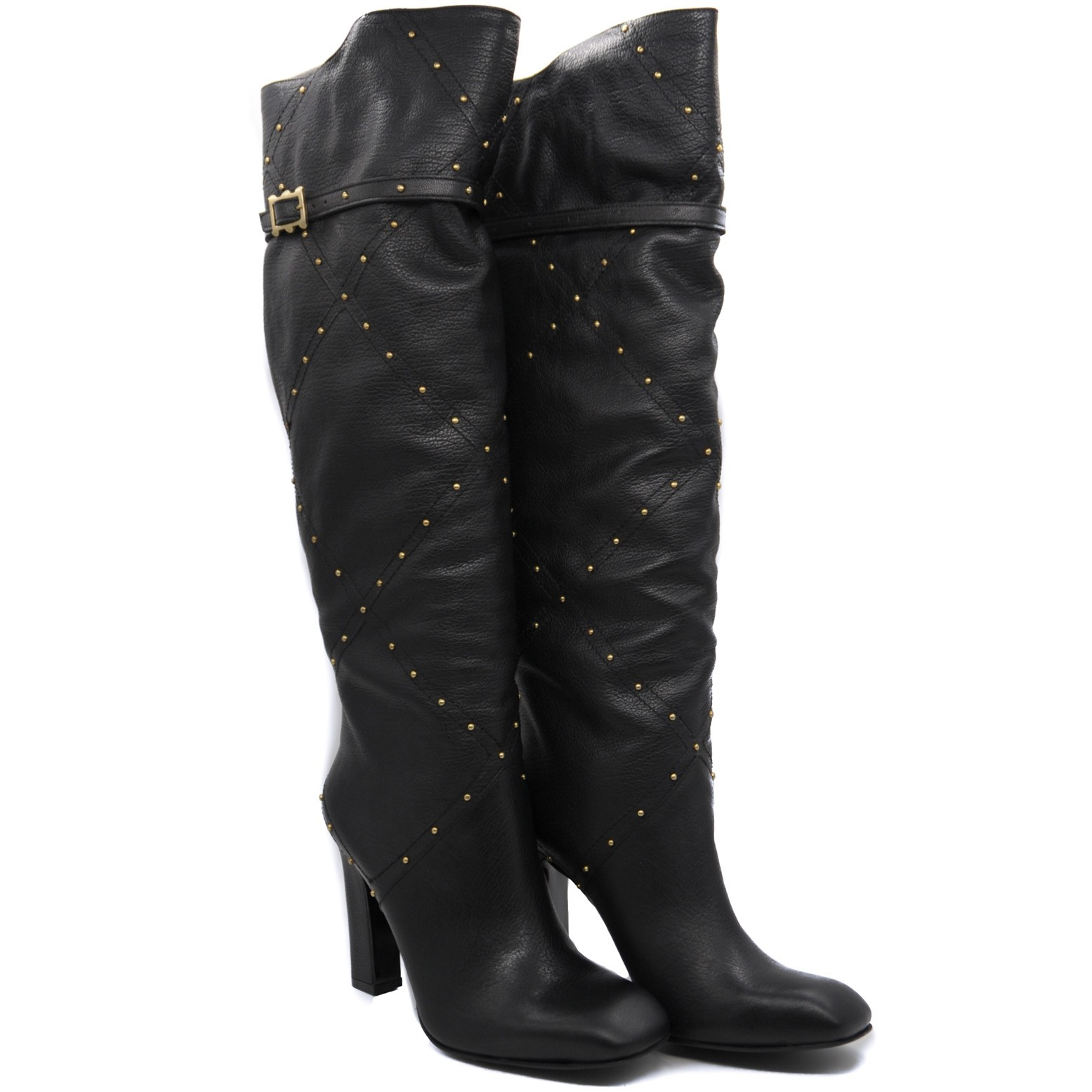 Stylish Knee Length Leather Boots with Heels and Stud Patterned Design