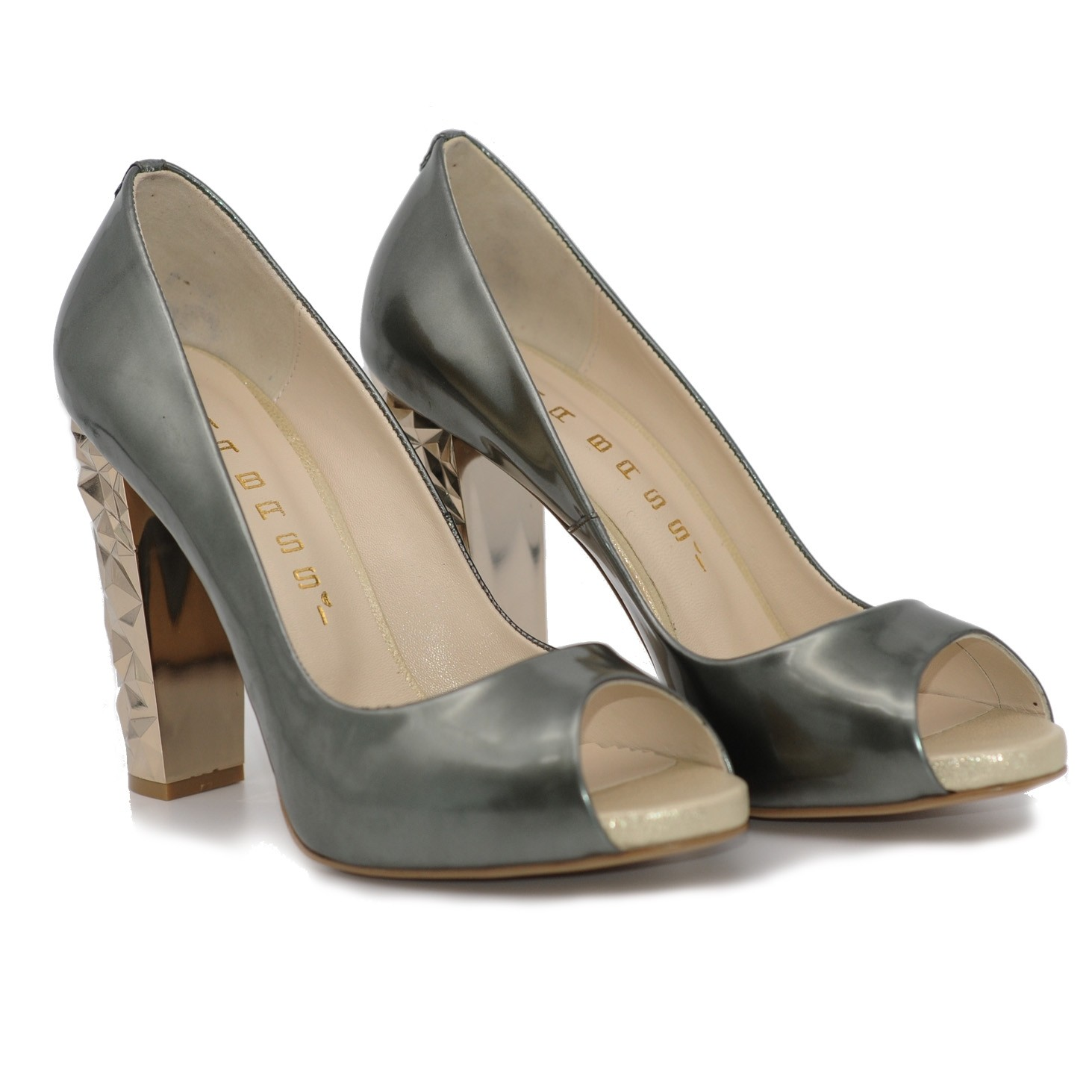 Stylish Open Toed High Heels with Patterned Solid Heel - Pewter Colour