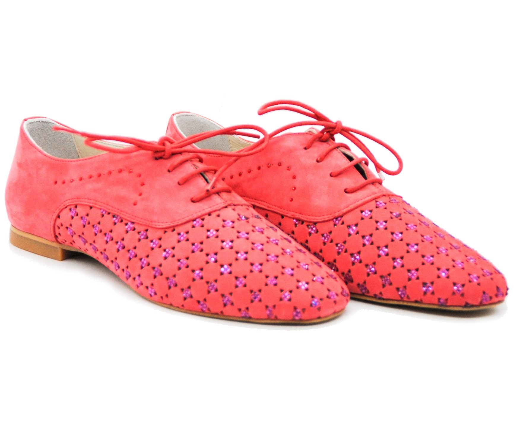 Stylish Pegia Pink Crystal Jeweled Brogue Laced Ladies Shoes