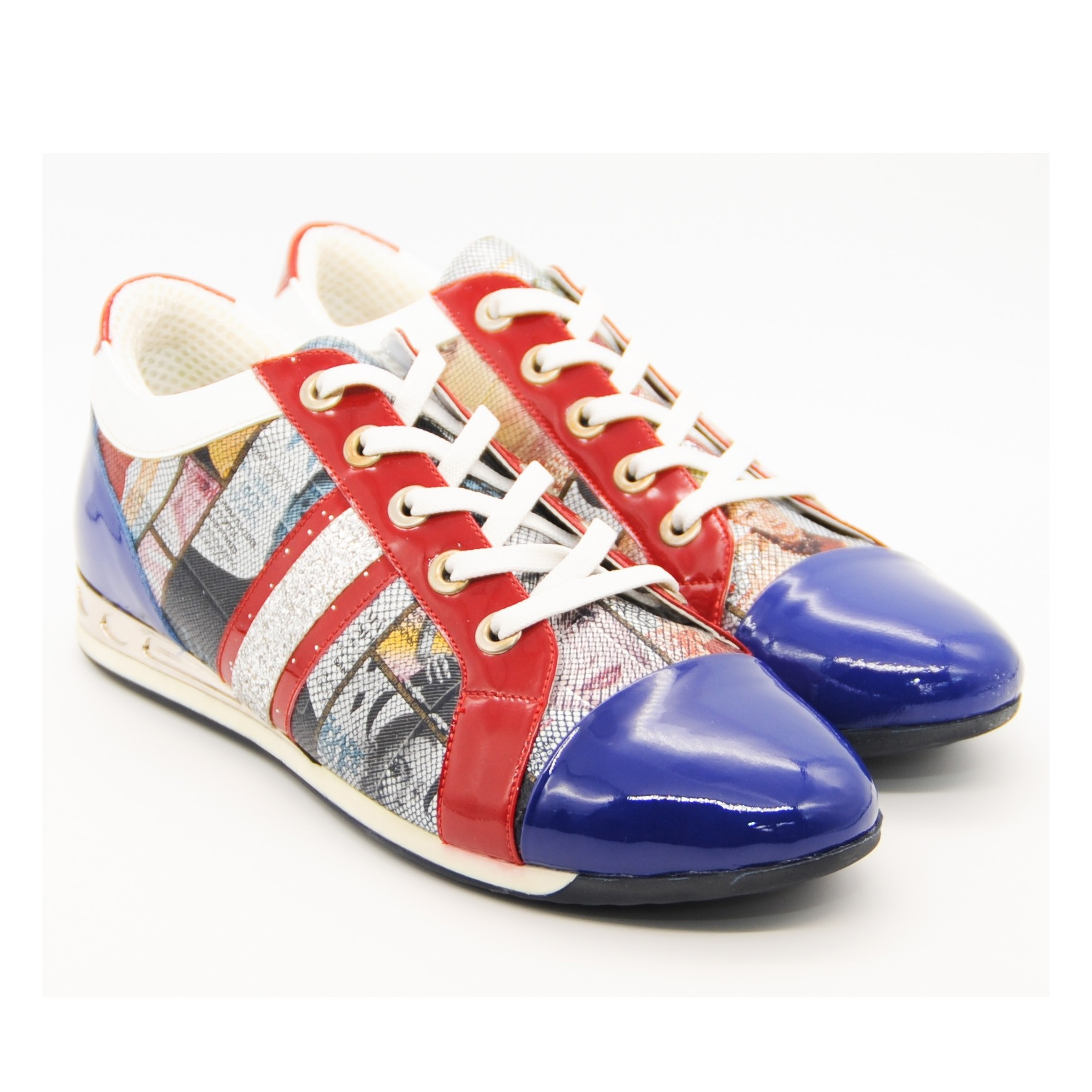 Stylishly Vogue Multi Coloured Patterned Leather Pumps with Lace Tie Ups