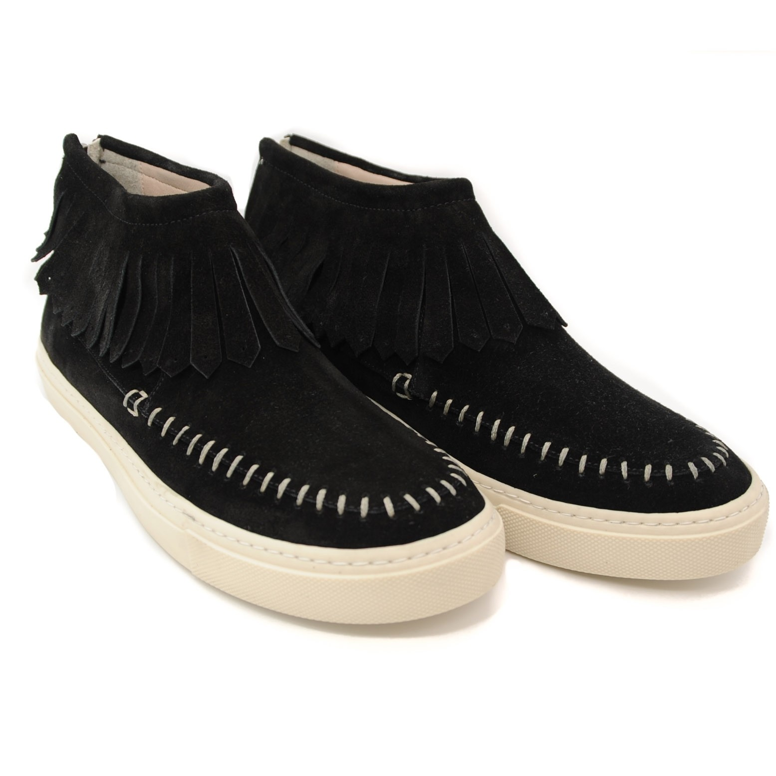 Suede Leather Casual Fashion Pumps with Back Zip and Flat White Rubber Soles - Black