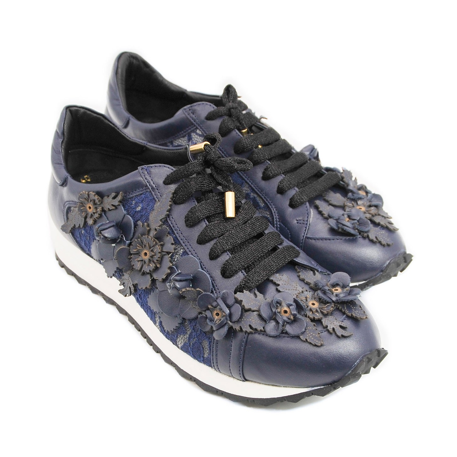 Uniquely Designed Flower Leather Trainer Pumps with Contrasting Lace and White Sole - Navy