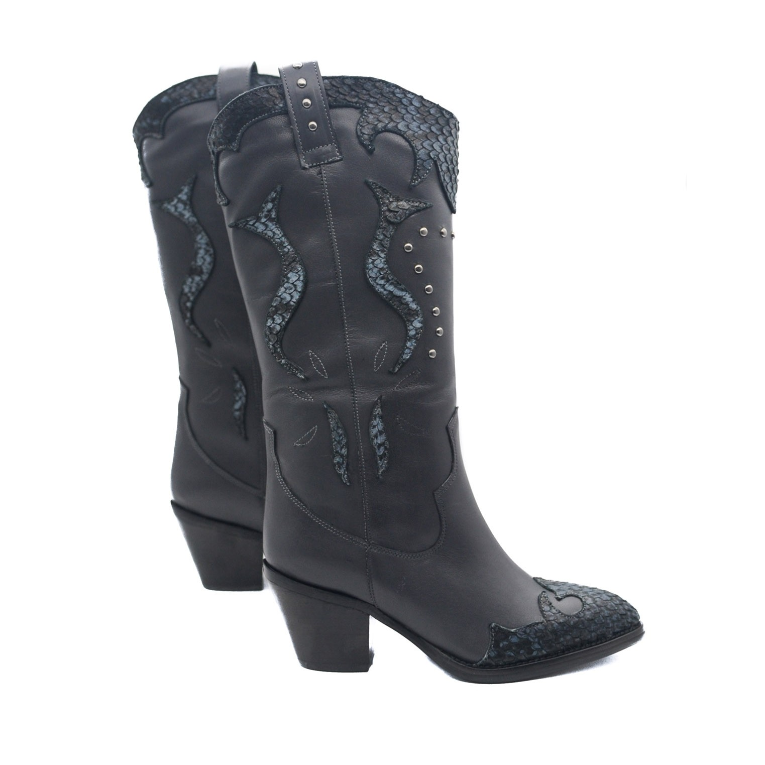 Western Style Block Heel Pull on Leather Boots With Silver Studs and Gorgeous Embellished Details