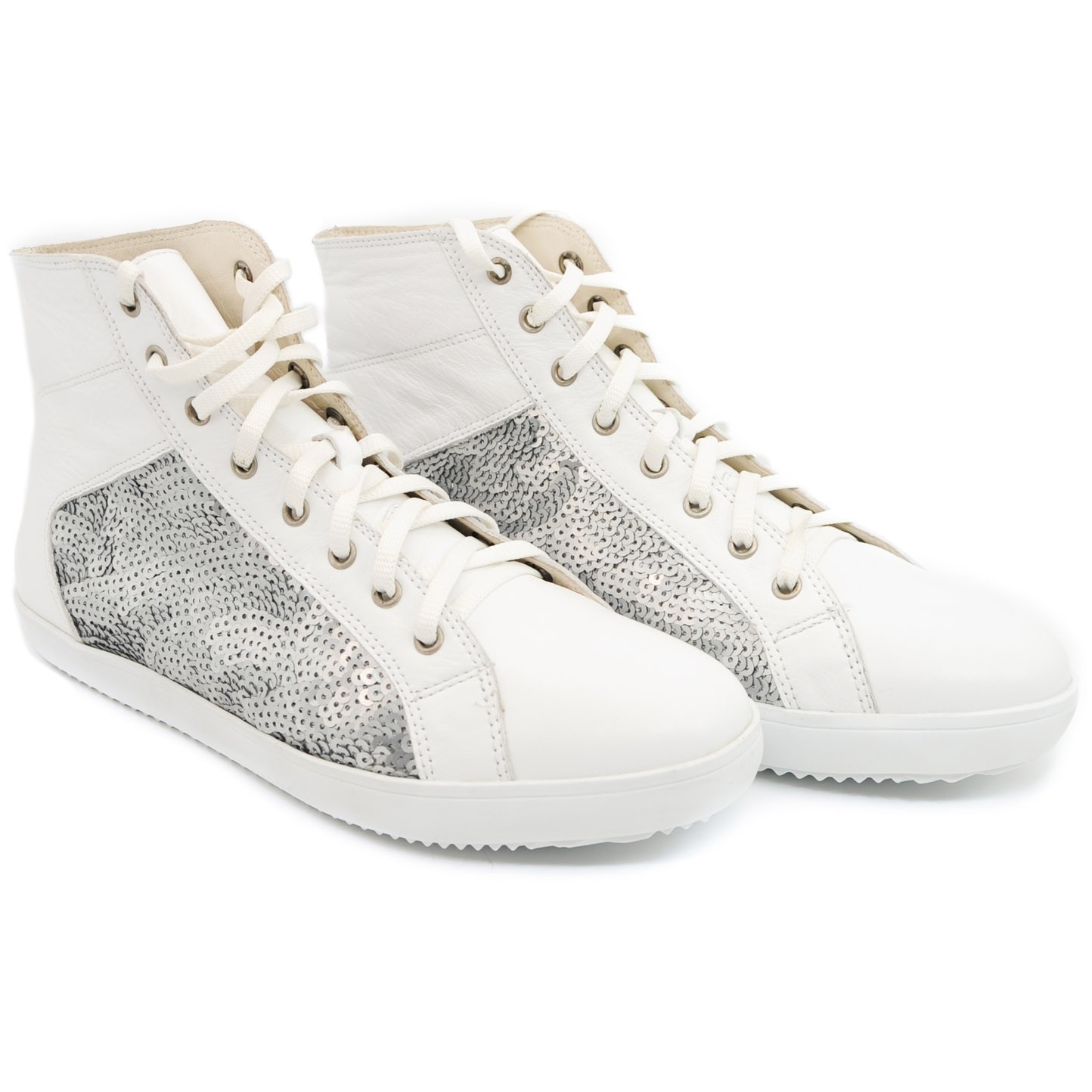 White Converse Style Leather Sneakers with Silver Patterned Side Sequins and Laced Front