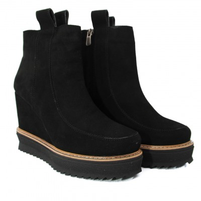 Ankle Length Suede Boots with Flat Sole and Heel - Black