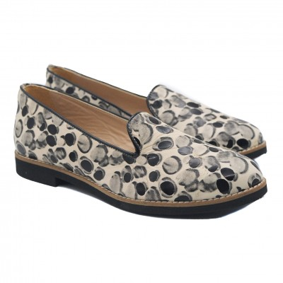 Art Goya Ladies' Flat Slip on Cream Leather Loafer with a Grey and Black Pattern