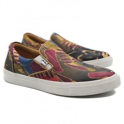 Art Goya Ladies Multi Coloured Jungle Design Leather Low Skate Slip On Shoes