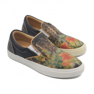 Art Goya Ladies' Slip on Leather Pumps with a Floral Design Low Skater Shoes