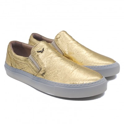 Art Goya Ladies' Slip on Sneakers in Metallic Gold in Leather with Grey Rubber Sole