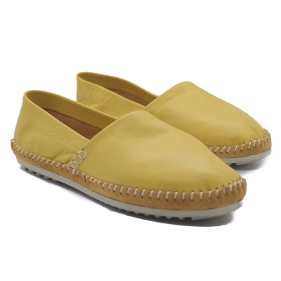 Art Goya Ladies' Soft Leather Butter Yellow Flat Slip on Comfort Loafer Shoes