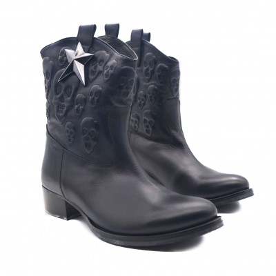 Cowboy Style Leather Women's Navy Ankle Boots with Skull Design and Silver Ornate Star