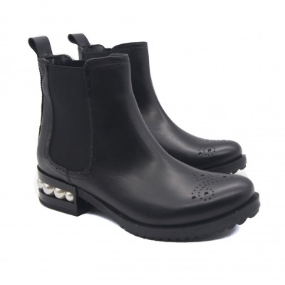 Goody2Shoes Ladies Black Leather Pull on Chelsea Boots with Pinpricks and Pearl Heel