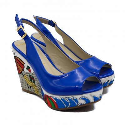 Goody2Shoes Ladies' Blue Patent Diamanté Encrusted Sling back Peep Toe Wedges