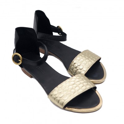 Goody2Shoes Ladies' Gold Crocco and Black Flat Leather Sandals with Ankle Strap