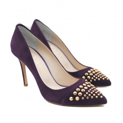 Goody2Shoes Ladies' High Heel Gold Studded Plum Court Shoe Pumps