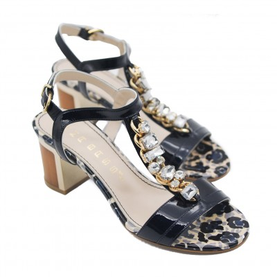 Goody2Shoes Ladies Navy Patent Open Toe Sandals with Jewels and Block Heel